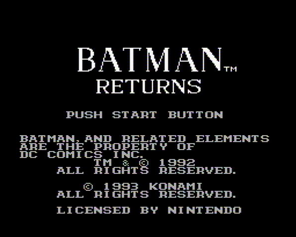 Титульный экран из игры Batman Returns / Бэтмен Возвращается