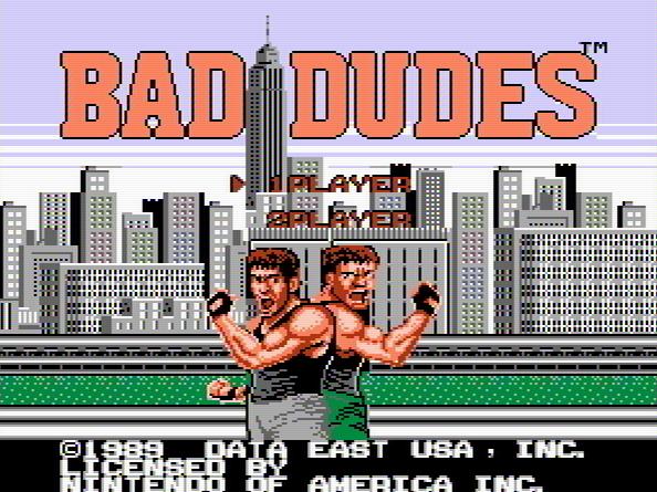 Титульный экран из игры Bad Dudes / Плохие Парни