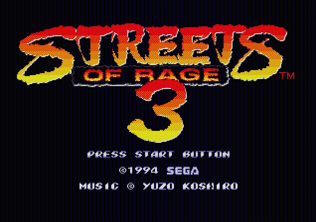 Титульный экран из игры Streets of Rage 3 / Улицы Ярости 3