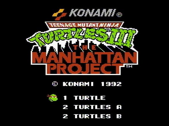 Титульный экран из игры Teenage Mutant Ninja Turtles 3 The Manhattan Project / Черепашки Ниндзя 3 Манхеттенский Проект
