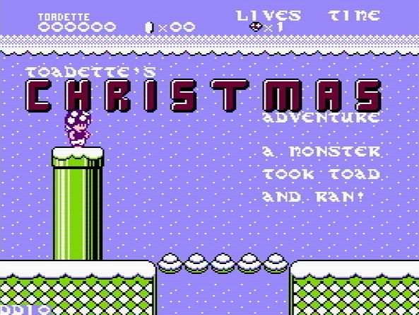 Титульный экран из игры Toadette's Christmas Adventure / Рождественское Приключение Тоадетты.