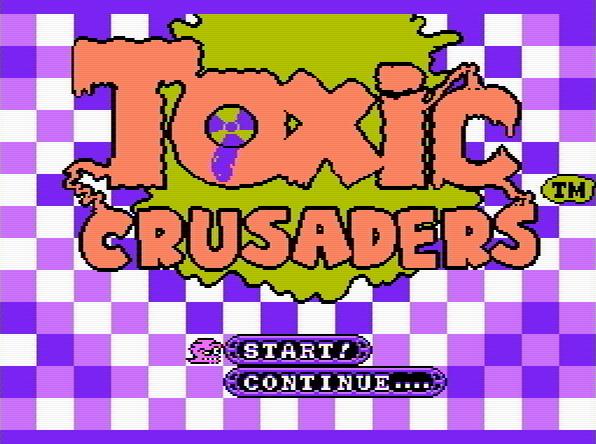 Титульный экран из игры Toxic Crusaders / Токсичные Крестоносцы