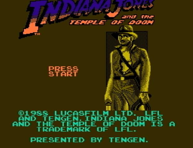 Титульный экран из игры Indiana Jones and the Temple of Doom / Индиана Джонс и Храм Судьбы