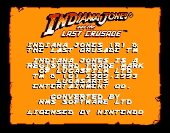 Титульный экран из игры Indiana Jones and the Last Crusade / Индиана Джонс и Последний Крестовый поход