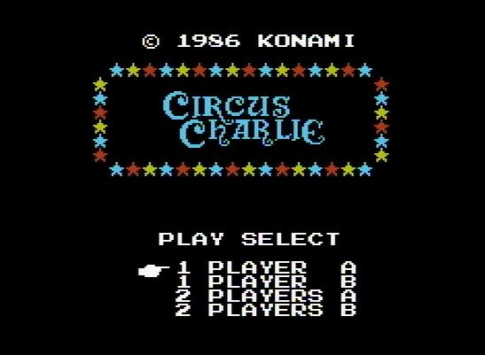 Титульный экран из игры Circus Charlie / Цирк (Циркач) Чарли