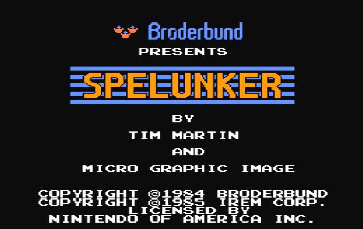 Титульный экран из игры Spelunker / Спелункер (Спелеолог)