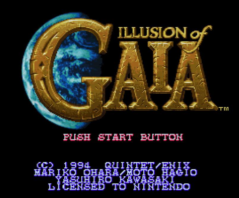 Титульный экран из игры Illusion of Gaia / Иллюзия Гайи
