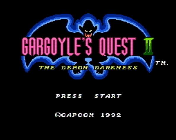 Титульный экран из игры Gargoyle's Quest II - The Demon Darkness / Квест Гаргулии 2 Демон Тьмы