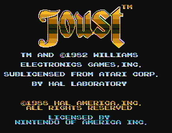 Титульный экран из игры Joust / Джоуст / Рыцарский Турнир