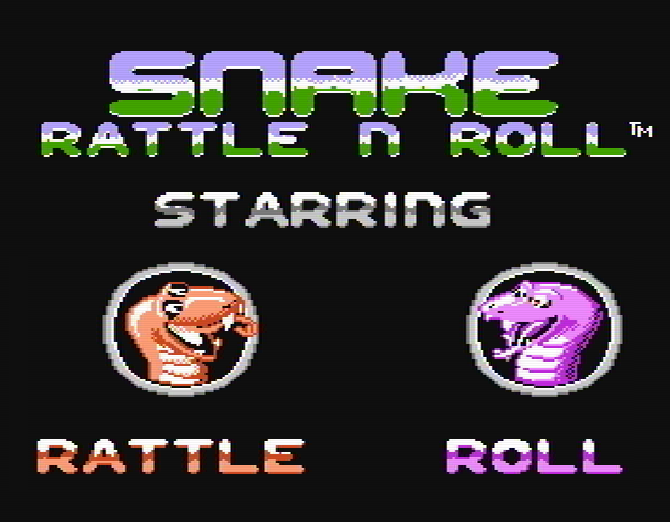 Титульный экран из игры Snake Rattle 'n' Roll / Змейки Раттл и Ролл