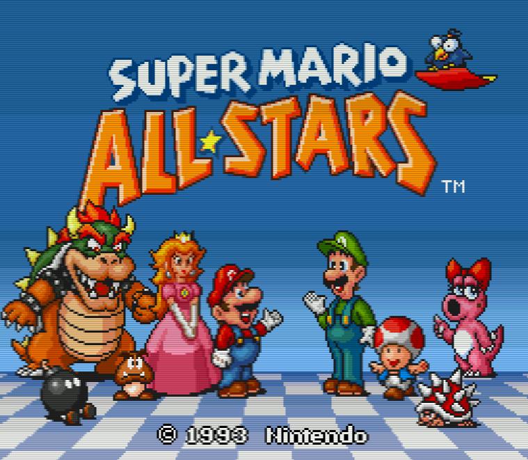 Титульный экран из игры Super Mario All-Stars / Супер Марио - Все Звёзды