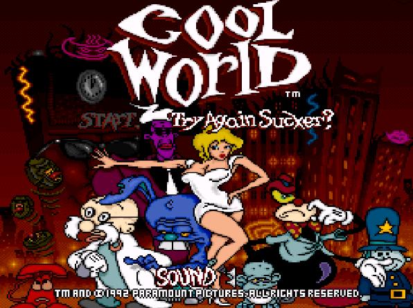 Титульный экран из игры Cool World / «Параллельный мир, Крутой мир»