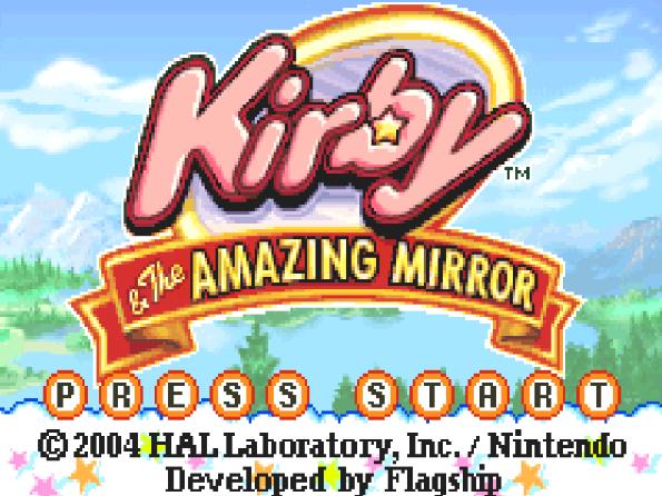 Титульный экран из игры Kirby & the Amazing Mirror / Кирби и Удивительное Зеркало