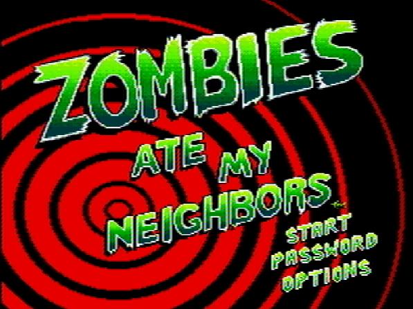 Титульный экран из игры Zombies Ate My Neighbors / Зомби съели моих соседей