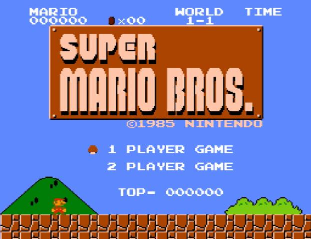 Титульный экран из игры Super Mario Bros., スーパーマリオブラザーズ