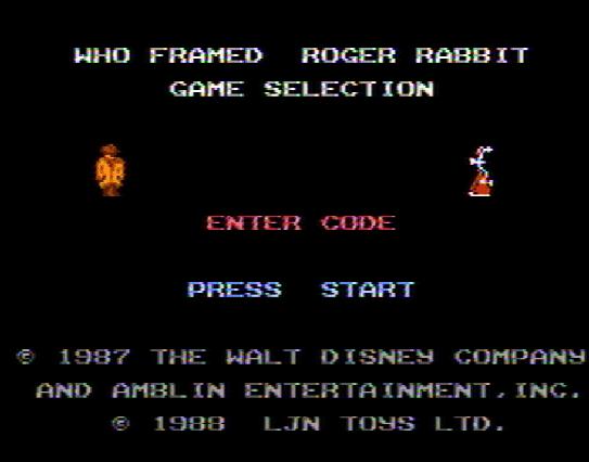 Титульный экран из игры Who Framed Roger Rabbit / Кто подставил кролика Роджера