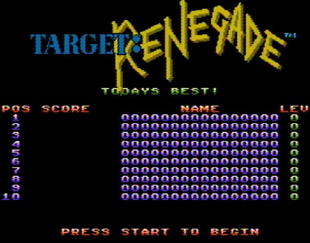 Титульный экран из игры Target: Renegade / Таргет Ренегад