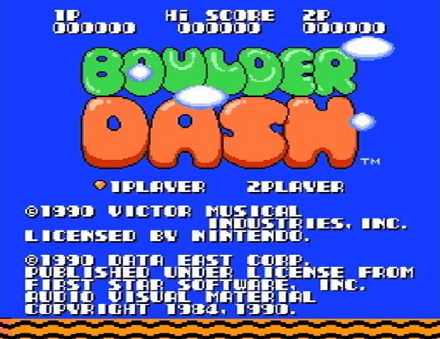 Титульный экран из игры Boulder Dash / Боулдер Даш