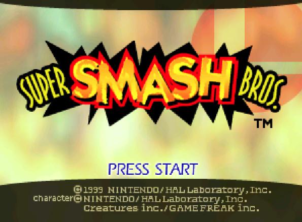 Титульный экран из игры Super Smash Bros. / Супер Смэш Брос.
