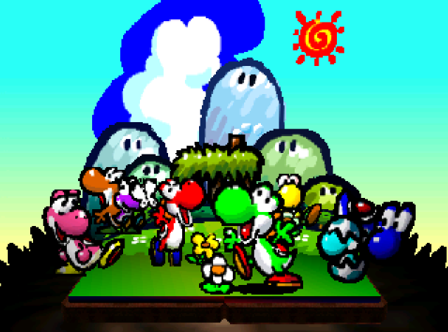 Титульный экран из игры Yoshi's Story / История Йоши