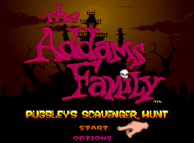 Титульный экран из игры Addams Family, The Pugsley's Scavenger Hunt / Семейка Аддамс - Пагсли и Охота за Мусором.