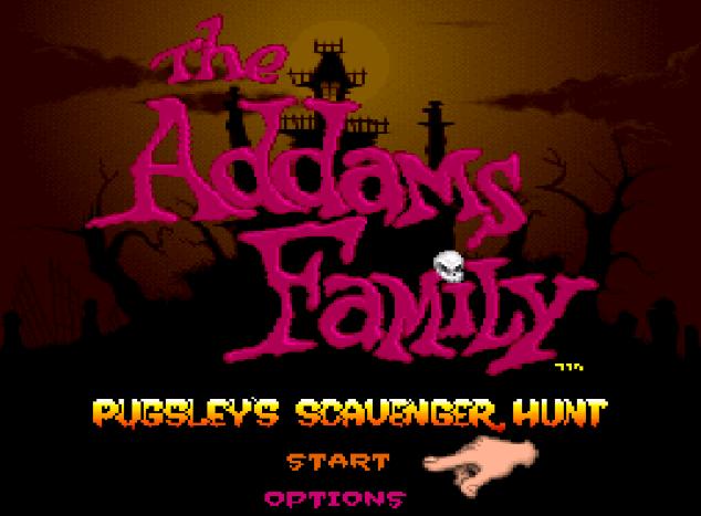 Титульный экран из игры Addams Family, The Pugsley's Scavenger Hunt / Семейка Аддамс - Пагсли и Охота за Мусором.