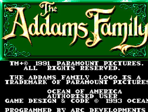Титульный экран из игры Addams Family, the  / Семейка Аддамс