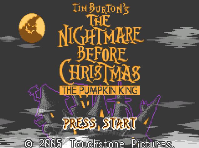 Титульный экран из игры Tim Burton's The Nightmare Before Christmas - The Pumpkin King