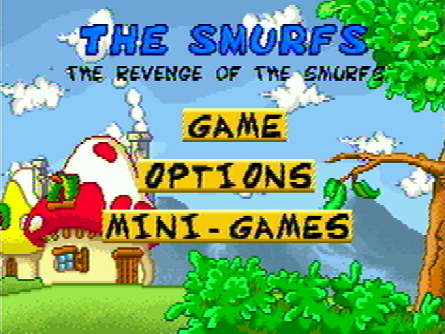 Титульный экран из игры Smurfs 'the Revenge of the Smurfs / Смурфы: Месть смурфов