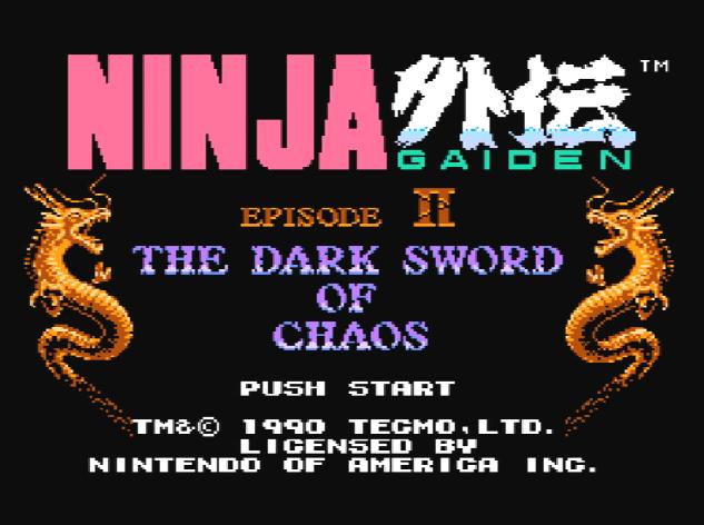 Титульный экран из игры Ninja Gaiden II: The Dark Sword of Chaos (Ninja Ryukenden 2) Ниндзя Гайден 2 Темный Меч Хаоса (忍者龍剣伝 2)