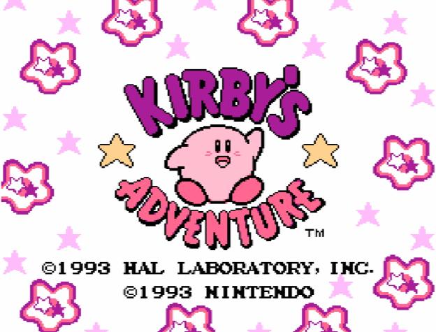 Титульный экран из игры Kirby's Adventure / Приключение Кирби