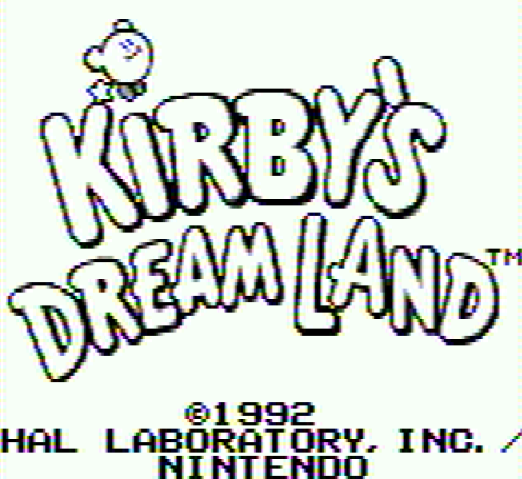 Титульный экран из игры Kirby's Dream Land / Земля мечты Кирби