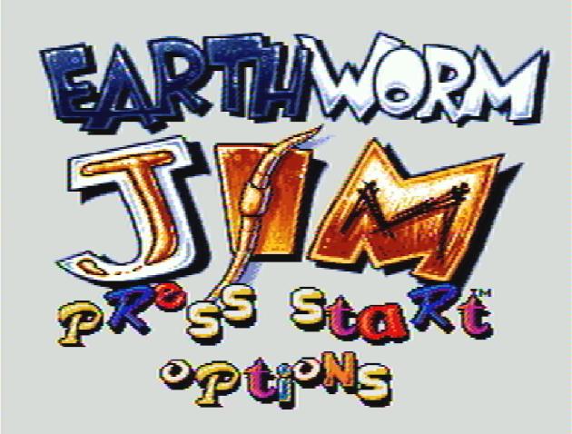 Титульный экран из игры Earthworm Jim / Земляной Червяк Джим