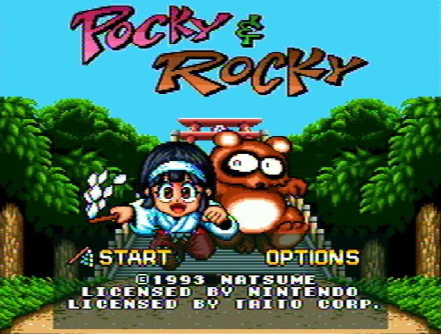 Титульный экран из игры Pocky & Rocky / Поки и Роки