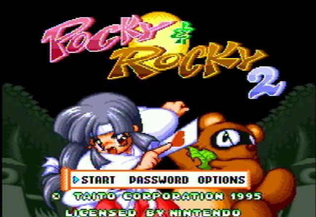 Титульный экран из игры Pocky & Rocky 2 / Поки и Роки 2