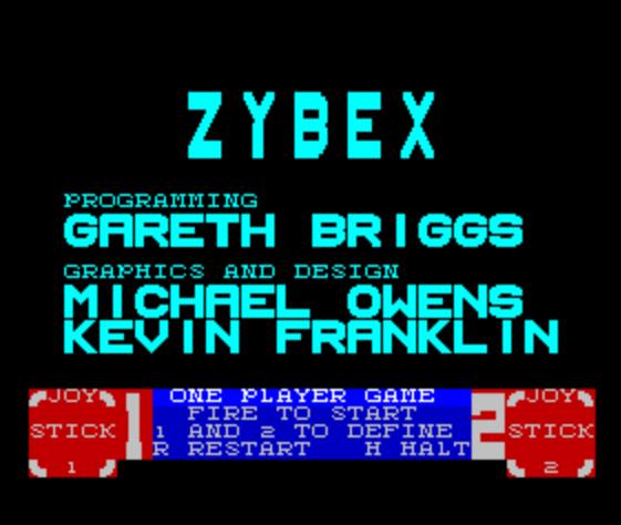 Титульный экран из игры Zybex / Зайбекс