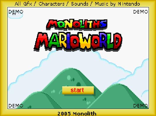 Титульный экран из игры Monoliths Mario World / Марио: Мир Монолитов