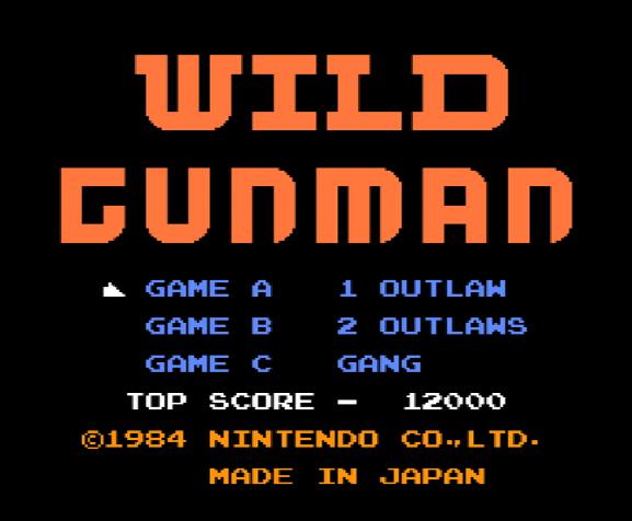 Титульный экран из игры Wild Gunman / Дикий Стрелок
