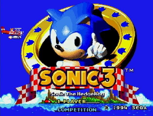 Титульный экран из игры Sonic The Hedgehog 3 / Ёж Соник 3
