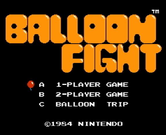 Титульный экран из игры Balloon Fight / Бой на Воздушных шарах