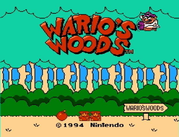 Титульный экран из игры Wario's Woods / Леса Варио