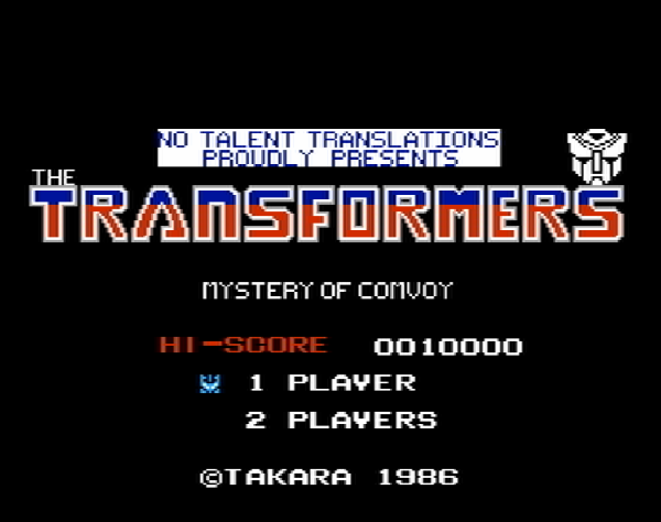 Титульный экран из игры Transformers: Mystery of Convoy / Трансформеры: Таинственный Конвой