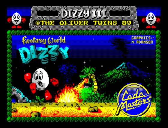 Титульный экран из игры Dizzy III — Fantasy World Dizzy / Диззи 3: Фантазийный Мир Диззи