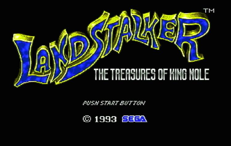 Титульный экран из игры Landstalker: The Treasures of King Nole / Землепроходец: Сокровища короля Ноула
