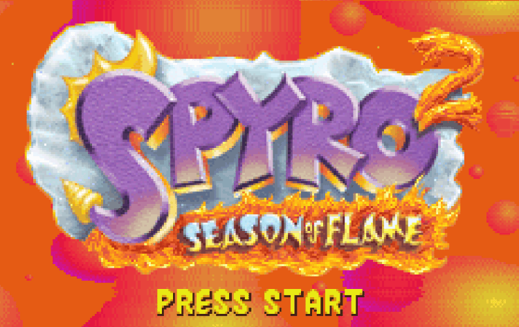 Титульный экран из игры Spyro 2: Season of Flame / Спайро 2: Сезон Пламени