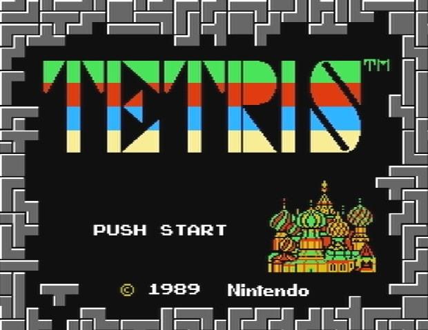 Титульный экран из игры Tetris / Тетрис